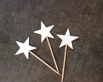 24 White Star Cupcake Toppers, Party Decor, Graduation, Weddings, Showers, Birthdays
