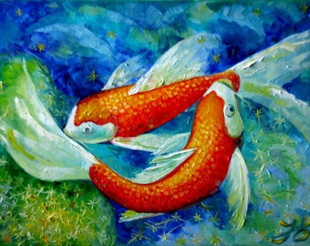 Butterfly Koi Carp Fish Nadia Bykova Original Oil Painting Pond Water Reflections New Home Wall Decor Wedding Gift Impasto Present Textured