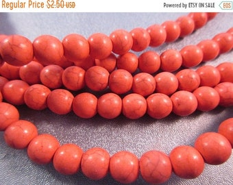ON SALE 20% OFF Fire Orange Magnesite Beads Round 8mm 50pcs