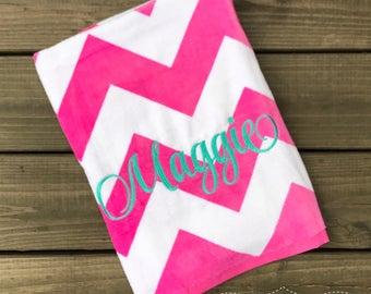 Monogrammed Beach Towel-Personalized Towel-Girls Monogram Beach Towel-Pool Towel-Pink and White Quatrefoil Towel