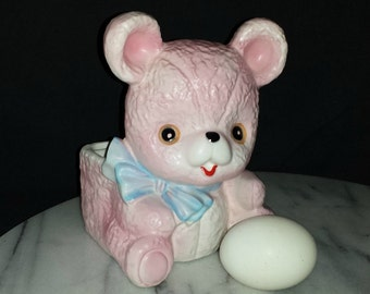Vintage Pink Teddy Bear Planter / 1960s Pink Baby Bear Blue Bow Planter / Vintage Planter for Baby / Vintage Baby Gift