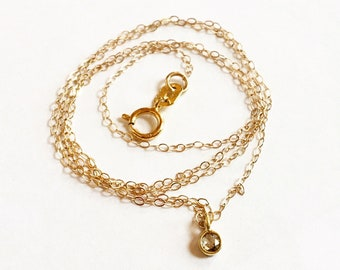 Darling 3mm rosecut diamond 18K Yellow Gold bezel set necklace pendant chain minimalist jewelry