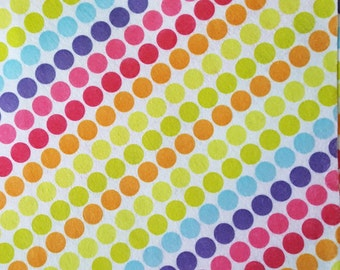 "Printed Felt Rectangle: Rainbow Polka Dots (9""x12"")"