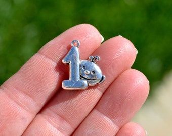 10 Silver Baby's First Birthday  Charms SC3646