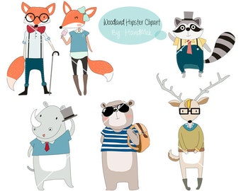 Woodland Hipster Clipart ,Animals clipart Instant Download PNG file - 300 dpi