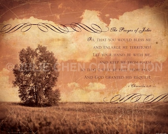 PRAYER of JABEZ - Scripture Wall Art - Inspirational Art - Bible Verse Art - Christian Gift - Religious Artwork - Quote - 1 Chronicles 4