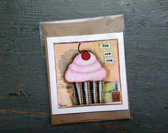SALE! Cake Card, Cupcake card, Cake Art, Whimsical Cake, Sale Card, Clearance Card, greeting card note card, Mixed Media Art, Nom nom nom