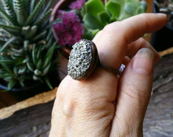 SALE Pyrite electroformed ring size 8
