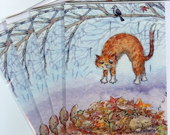 4 x cat kitten surprise visit greeting cards ginger tabby from a watercolour painting by Susan Alison autumn leaves fall