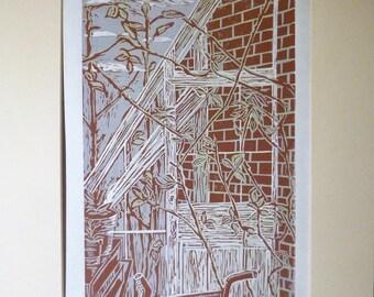 "Original Lino Print 3 colours, ""Walled Nursery Greenhouse"""