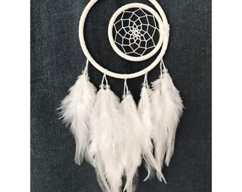 Crescent moon white dream catcher, moon dreamcatcher, boho dreamcatcher, nursery decor 4 inch diameter hand made