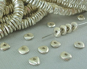200 Silver plated Brass Chip 6mm Spacer Disk Heishi Disc Flat Nugget Metal Beads Saucer