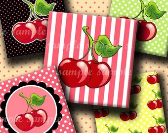 INSTANT DOWNLOAD I Love Cherries (208) 4x6 Digital Collage Sheet 1 inch square images for glass tiles resin pendants magnets stickers ..