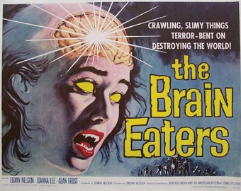 """LARGE SIZE Vintage Sci Fi Poster Print """"The Brain Eaters"""" / B Movie Poster / Vintage Horror Movie Poster / Vintage Zombie Movie / Geeky Art"""