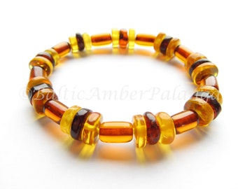 Baltic Amber Bracelet, Cognac Color Cylinder Form Beads With Inserts