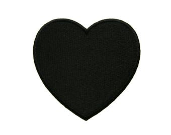 Black Heart Embroidered Applique Iron on Patch