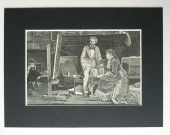 1881 Antique Print Of The Studio By Mihaly Munkacsy - Artist Studio - Victorian Art Print - Art Class - Hungarian Artist - Art Lesson