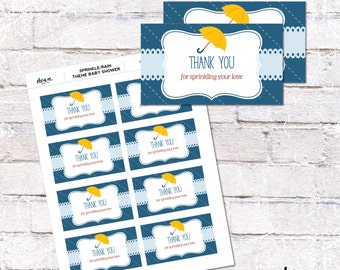 Printable Baby Shower Favor Tags or Stickers. Thank you tags. Sprinle/Rain Baby Shower Party Decor.  *DIGITAL DOWNLOAD*