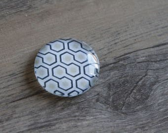 1 cabochon clear 25mm black and white graphic pattern