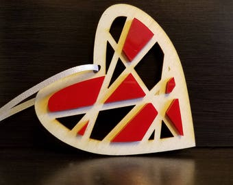 Love Ornament - Heart Crisscross Ornament with pride colors