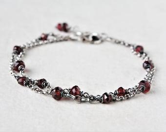Sterling silver garnet bracelet, oxidized silver multi strand bracelet, gemstone bracelet, dainty silver bracelet