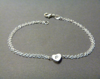 Heart Bracelet - initial bracelet - love bracelet -  gold -  Bridesmaid gift - wedding jewelry - charm bracelet