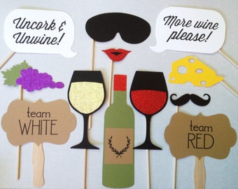 12 Wine Tasting GLITTER Photo Booth Props - Wine Tasting Party - Winery Photo Booth Props
