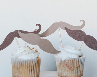 Cupcake-stache - Cupcake toppers - Set of 12