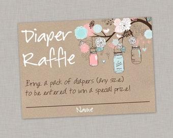 Diaper Raffle Card, Mason Jar Diaper Raffle Card, Baby Shower, Gender Reveal