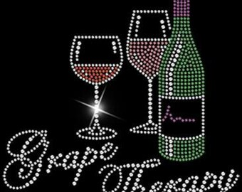 Grape Therapy w Wine Glasses and Wine Bottle - T-Shirt Rhinestone Embellished - Great for Wine Events - BLING!