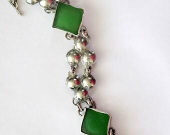 Sterling Sea Glass Bracelet, Silver Sea Glass, Green Bracelet,  Beach Glass Bracelet, Artisan Bracelet, Hammered Silver Bracelet