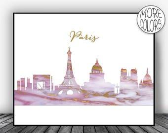 Paris Print Paris Art Print Paris Decor Paris Skyline Marble Art Print Paris France Paris Poster Paris Wall Art Office Poster