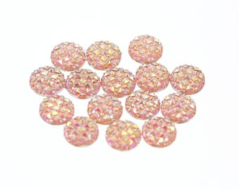 12mm Iridescent Blush Pink Faux Druzy Crystal Clusters Cabochons Small DIAMOND Nuggets
