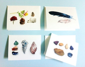 Nature Watercolor Cards - Set of 4, seashell card, stones card, feather card, flower card, blank cards, nature cards, pinecone card