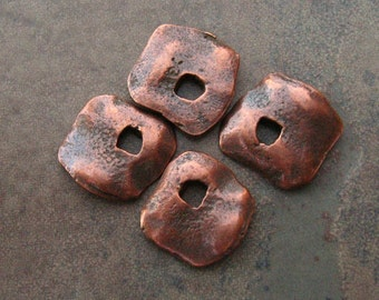 New Price! 4 Greek Casting Bronze Square Cornflake Dangle Beads