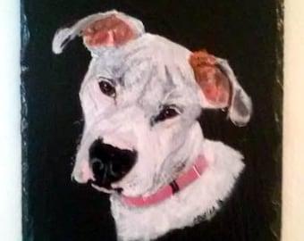 Portrait d'animal sur ardoise, personnalisée portrait d'animal de compagnie sur ardoise, pleine taille pour animaux, portrait tête d'animal
