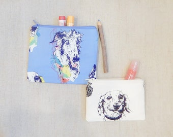 Dog Pouch/ Coin Purse/ Make Up Bag/ Pencil Case/ Gift for Dog Lovers/ Mothers Day Gift/ Gift for Her/ Birthday Gift/ Teacher Gift/ Mom Gift