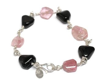 NEW! Bracelet Sterling silver, Tourmaline and Onyx, elegant, boho, womans, earthy, pink, black, rustic, beaded, ooak, wrapped, ships free
