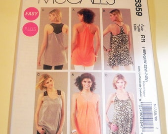 "Tunic Racer Back Blouse Tank Top blouse easy sewing pattern McCalls 6359 Size 18 20 22 24 Bust 40 42 44 46"" UNCUT FF"