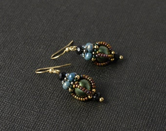 Enchanted forest beadwoven earrings in green