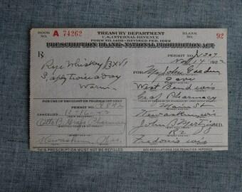 Vintage Prohibition Rye Whiskey Prescription Pharmacy Medical Alcohol Bar Rx Wisconsin 11/14/1922 Drug Store Speakeasy Rare