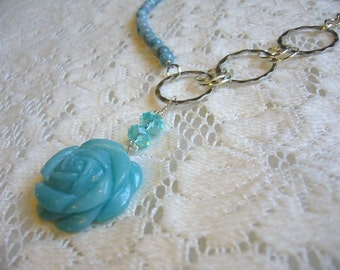 Amazonite Carved Flower Silver And Brass Necklace