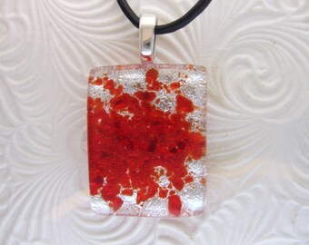 Red Shimmer Dichroic Pendant, Handmade Fused Glass Jewelry from North Carolina
