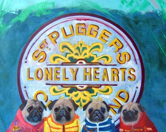 """Pug Art Print of an original oil painting -""""Sargeant Pugger's Lonely Hearts Club Band""""-Beatles-Sgt. Peppers-Dog art-8x10 dog art"""