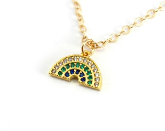 Dainty Pave Rainbow Necklace, Gold Charm Necklace, Gold Rainbow Necklace for girls or boys, Cubic Zirconia Necklace, CZ Rainbow Jewelry