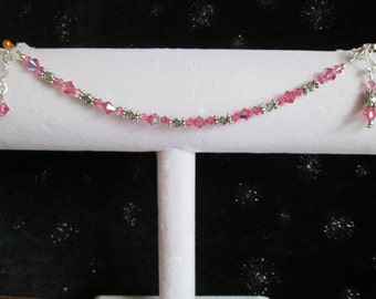 Pink Crystal and Sterling Silver Beaded Bracelet and Earring Set #11