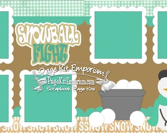 Scrapbook Page Kit Snowball Fight Snow Snowman 2 page Scrapbook Layout Kit 127