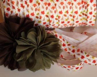 """5/8"""" Fold Over Elastic FOE Fall Leaves"""