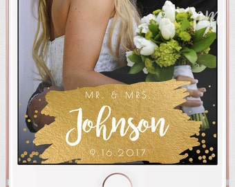 Gold Wedding Geofilter, Gold Foil Snapchat Geofilter, Snapchat Filter, Custom Geofilter, Gold Foil Wedding Snapchat Filter