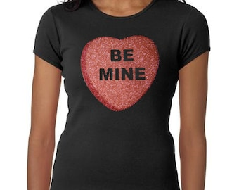 Women's Custom Glitter Bling Conversation Heart shirt